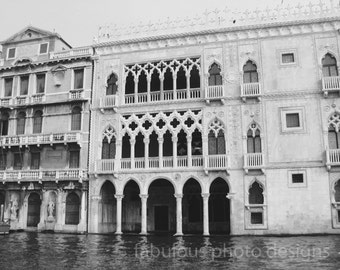 "Venice Photography ""Gothic Architecture I""  Black & White Vintage Fine Art Italy Travel Photograph, Wall Decor, Grand Canal"