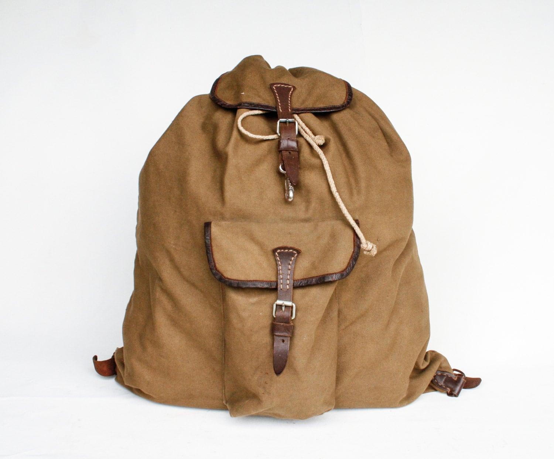 vintage hiking backpack canvas rucksack brown leather. Black Bedroom Furniture Sets. Home Design Ideas