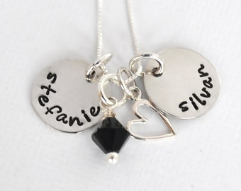 Personalized Hand Stamped Two Name Necklace | Couple Personalized Necklace with Heart Charm and Bead