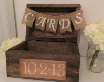 rustic card box, wood card box country wedding decor, burlap wedding banner, rustic wedding card box