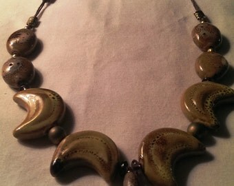 Earthtone Natural Stone and Ceramic Necklace