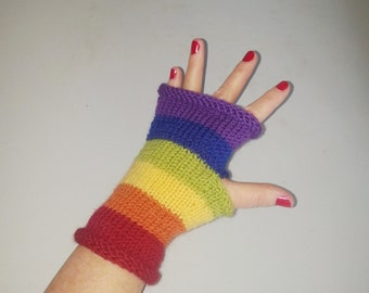 Will you marry me - rainbow pride fingerless gloves - handmade gloves - unique marriage proposal - rainbow gloves