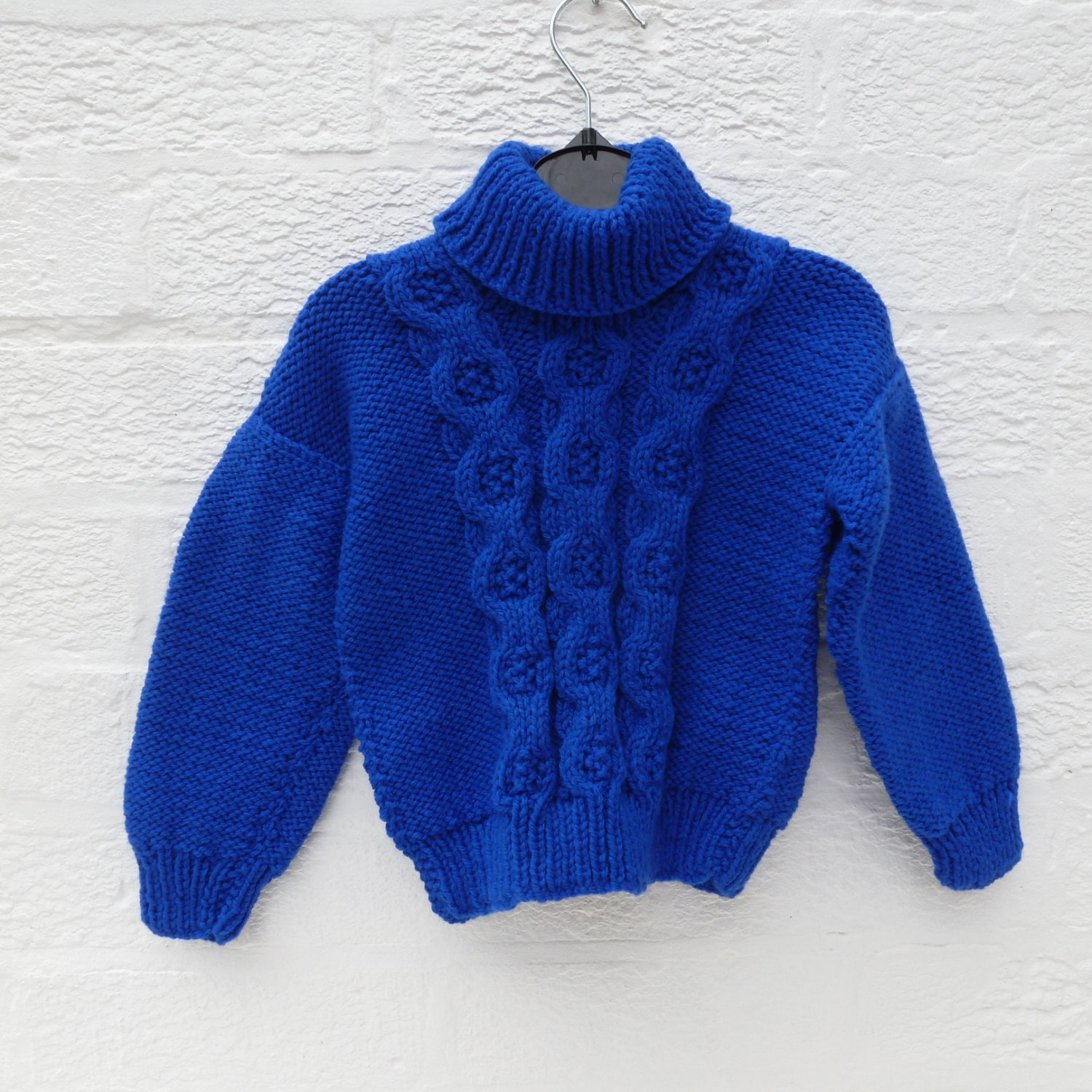 Boys sweater girls handmade blue jumper cable knit top hand