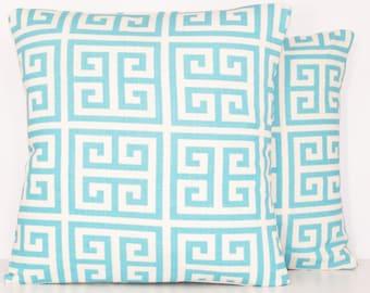 PILLOW COVER Throw Premier Prints Handmade Custom Modern Accent Pillows 14 16 18 20 24 Greek Key Turquoise Natural