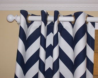 """Navy White Wide 2"""" CHEVRON CURTAINS Premier Fabric Collection Two Drapery Panels 50"""" Wide White Slub Background Zig Zag Grommets"""