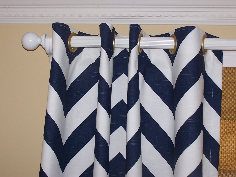 blue chevron curtains navy white chevron wide 2