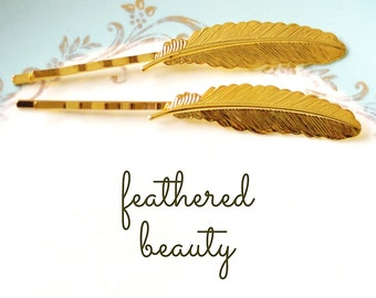 Feather Bobby Pins, Gold Feather Hair Barrettes, Feather Hair Decor