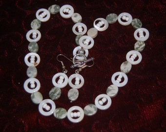 Light green beads and white