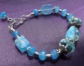 Sky Blue Chalcedony and Blue Topaz Quarts Bracelet