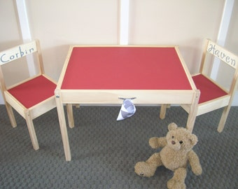 Chalkboard Table And Chairs In CHERRY RED