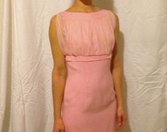 1950's Jackie O. Style Custom Made Cocktail Dress, Soft Pink, Size 2, Cotton and Taffeta fully lined