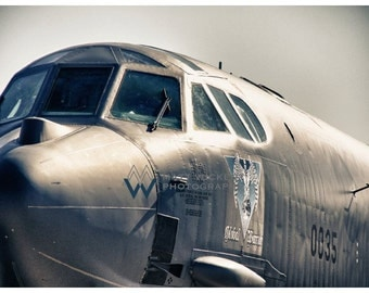Aviation Photography, B-52 Bomber Nose, Metallic Photographic Print