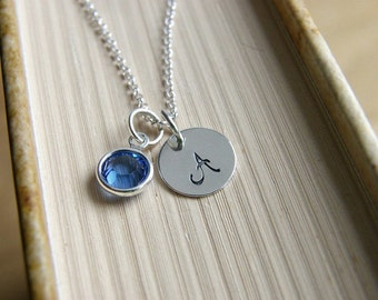 Birthstone Necklace, Personalized Necklace, Custom Birthstone Necklace, Sterling Silver Initial Necklace, Birthstone Jewelry,Letter necklace