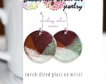 Handmade Enamel Earrings Glass on Copper, Green Brown Cream, Handmade Sterling Silver Ear Wires, Earthy, Torch Fired Enamel Earrings