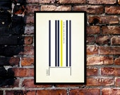 True Colours - 'Spurs' A3 Football Print in blue, white and yellow on ivory background.