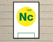 "Essential Elements: ""Norwich"" A4 Football Print in yellow, green and white."