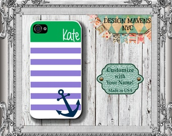 Preppy Anchor iPhone Case, Nautical iPhone Case, Personalized iPhone Case, iPhone 4, 4s, iPhone 5, 5s, 5c, iPhone 6, 6s, 6 Plus, Phone Case