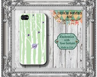 Love Birds iPhone Case, Mint Green iPhone Case, Personalized iPhone Case, iPhone 5, 5s, 5c, iPhone 6, 6s, 6 Plus, SE, iPhone 7, 7 Plus