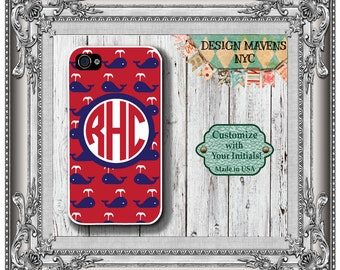 Preppy Whale Monogram iPhone Case, Personalized iPhone Case, iPhone 4, 4s, iPhone 5, 5s, 5c, iPhone 6, 6 Plus, iPhone Cover, iPhone Case