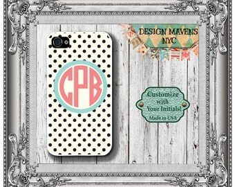 Preppy Polka Dot Monogram iPhone Case, Personalized iPhone Case, iPhone SE, iPhone 4, 4s, iPhone 5, 5s, 5c, iPhone 6, 6s, 6 Plus, Phone Case