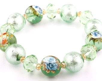 Mint Green Floral Murano Glass Beaded Stretch Fashion Bracelet