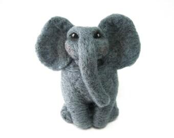 Needle Felted Elephant, Grey Wool Toy , Soft plush animal and home decoration