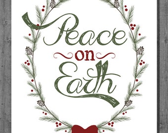 Christmas Printable - Instant Download - Peace on Earth - 8x10 - 16x20 - White