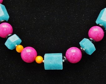 Necklace Bold Statement necklace. Pink, Blue, Orange, Gift for her, OOAK, Free Shipping, 21 inches