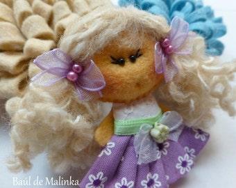 Felt doll brooch Matilda Violet, Felt doll, Fabric Brooch, Art Brooch, Wearable Art Jewelry, Felt brooch, Doll Brooch,
