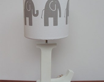 Small Handmade Elephant Drum Lamp Shade - White with Grey Elephants - Great for Nursery or Kids Room