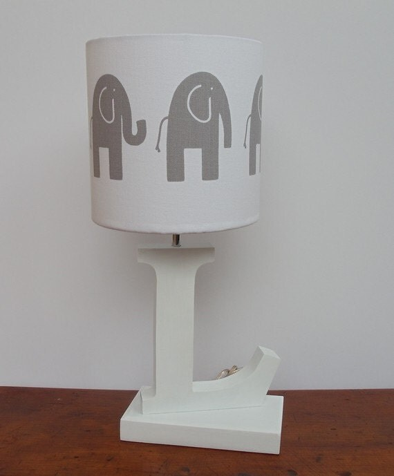 lamp shade white with grey elephants great for nursery or kids. Black Bedroom Furniture Sets. Home Design Ideas