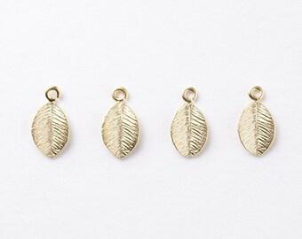 3020084 / Tiny Cute Leaf / 16k Matt Gold Plated Brass Pendant 5.8mm x 10.7mm / 0.3g / 6pcs
