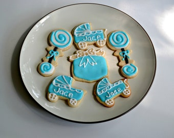 Baby Shower Cookies - Baby Carriage, Rattle Cookies- Boy or Girl - 1 dozen sugar cookies decorated