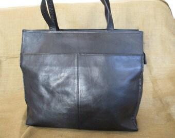 Genuine large vintage black leather shopping tote bag Colombia shopper