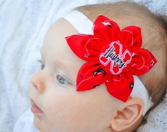 Free Shipping! University of Nebraska Huskers fabric flower baby headband