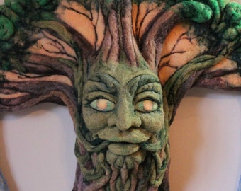 Spirit of the World Tree, OOAK Needle Felted Large Wall Hanging