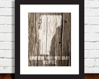 Vermont Print - The Green Mountain State - Multiple Sizes
