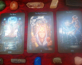 Tarot Reading: New Moon/ Full Moon with crystal sent to you