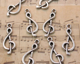10 Music Sign Pendants/Charms Antiqued Silver-Double Sided 10 x 23mm