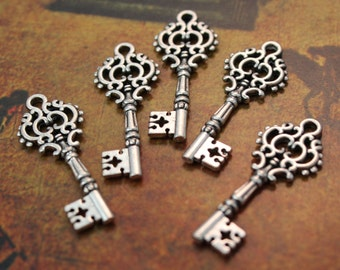 10 Key Charms Pendants Antique Silver tone Skeleton Keys Double Sided 30 mm/ 1-1/8 inch