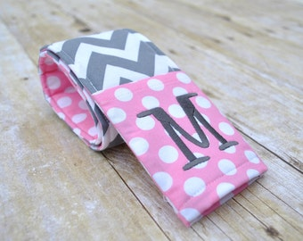 Monogrammed chevron camera strap cover (pink/gray)