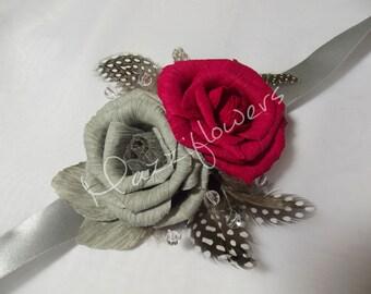 Bridal flower,wedding flower,paper flower,bridal corsage,flower paper corsage,corsage roses,