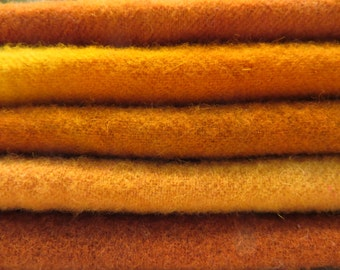 "Hand dyed and felted wool for rug hooking and other fiber arts projects ""pumpkins"""