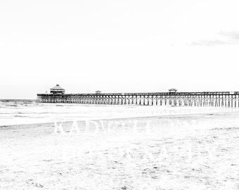 Black and White Charleston Photography Folly Beach South Carolina Fine Art Photo Shore Nautical Print Southern SC Lake House Decor