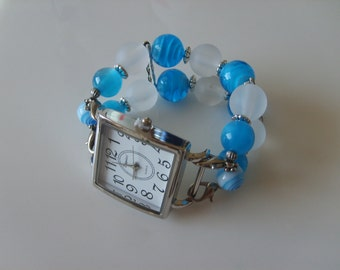 Double Stranded Interchangeable Teal Blue & White Beaded Watch Band Set (159)