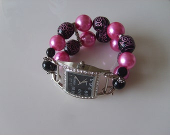 Double Stranded Interchangeable Pink & Black Beaded Watch Band Set (166)