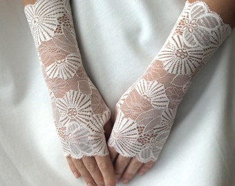 Bridal Gloves, Wedding Gloves, Pastel Pink with Silver thread laces, stretch lace, fingerless lace gloves, gift for her / READY TO SHIP