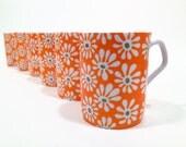 Vintage 70's Mod Orange Flower Power Mug / Single Coffee Mug / Pencil Cup