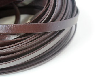 10mm Real Flat Leather Cord, 10feet Leather Strip, Brown Genuine Flat Leather String, Jewerly Leather String Cord
