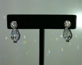 "VINTAGE SWAROVSKI Crystal Earrings - Pierced  3/4"" Long"